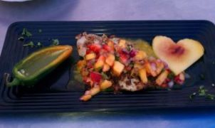 Pecan Crusted Tilapia, Reduced Margarita Sauce, Strawberry Peach Salsa