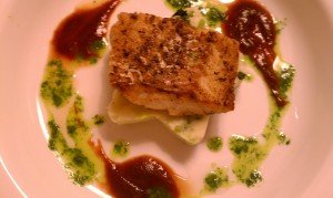Seared Cod on Colcannon Cake, Stout Reduction and Cress Puree