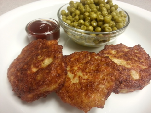 Salmon Patties, with the requisite peas, and ketchup.