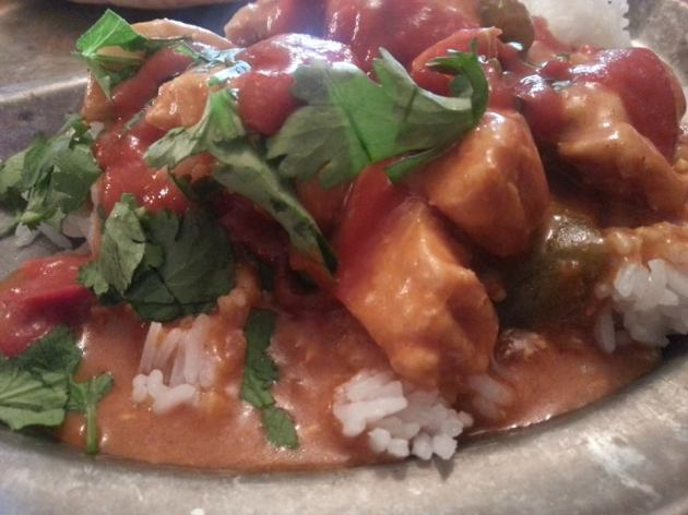 Butter Chicken, Cilantro, Hot Sauce